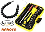 NANOCO 45 in 1 Screwdriver Set, Repair Tool Kit, All in One with 45 Magnetic Driver Bits Screwdriver Kit, Opening Tool and Tweezer for Cell Phone, Macbook, Laptop, PC, Glasses, Digitial Cam More