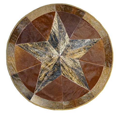 Star Cowhide - RODEO Texas Star Patch Work Cowhide Rug with linging Diameter 40 in (Burbon)