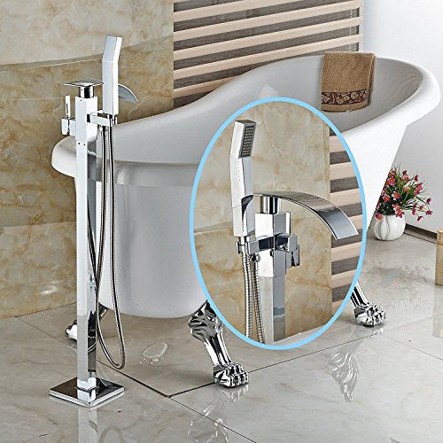 Senlesen Waterfall Spout Floor Mounted Bathroom Faucet Free Standing Tub Filler Mixer Tap with Handheld Shower Chrome Finish