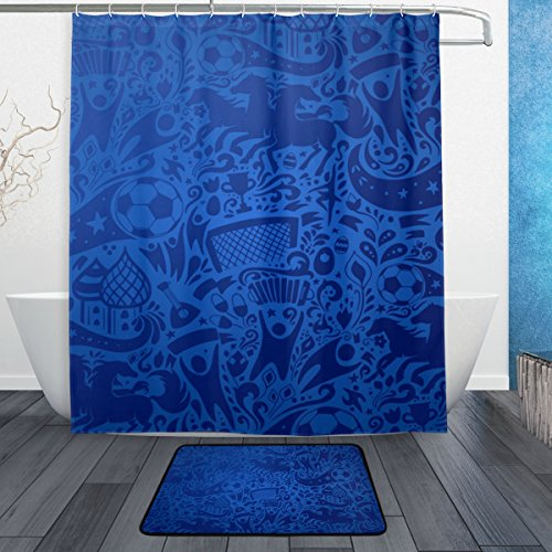 My Daily Soccer Football Doodle Shower Curtain 60 x 72 inch with Bath Mat Rug & Hooks, Mildew Resistant & Waterproof Polyester Decoration Bathroom Curtain Set by My Daily
