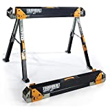 #2: Heavy-Duty Steel Saw Horse Adjustable Portable Folding Pair (2-Pack)