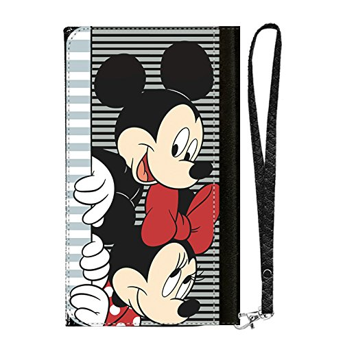 GSPSTORE All-in-One Cell Phone Wallet Case,Mickey Minnie Mouse Cartoon Case Pattern PU Leather with Multiple Pockets,Card Holder,Wrist Strap for iPhone Samsung LG Android Smart Phones #01 (Mickey Mouse Cell Phone)