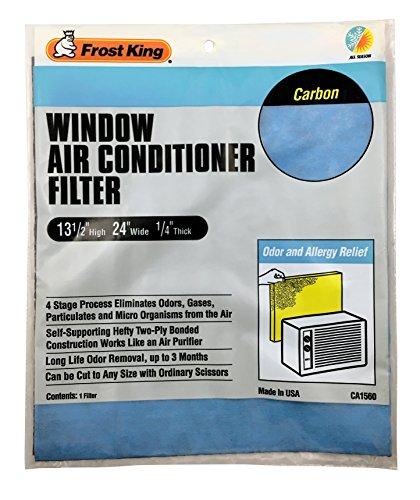 Frost King CA1560 Window Air Conditioner Carbon Filter, 13 1/2 inch High x 24 inch Wide x 1/4 inch Thick,,, Blue