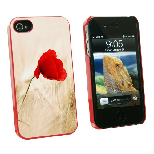 Graphics and More Red Poppy Flower in Wheat Field - Snap On Hard Protective Case for Apple iPhone 4 4S - Red - Carrying Case - Non-Retail Packaging - Red