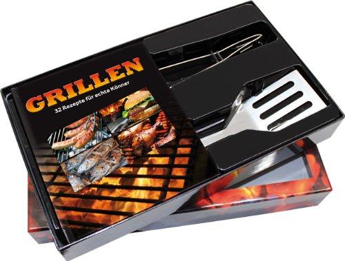 Buch-Box Grillen. 32 Rezepte für echte Könner: Buch + Grillzange und Pfannenwender