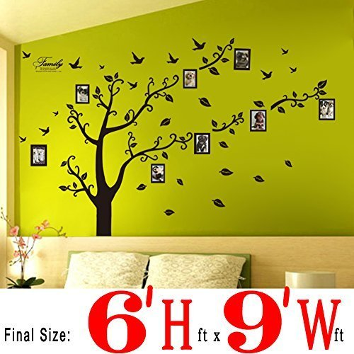 Dearm Home  6 H  X 9 W  Huge Size Family Photo Frame Tree Quote Picture Removable Wall Decor Art Stickers Vinyl Decals Home Decor Include 11Birds For Living Room Bedroom