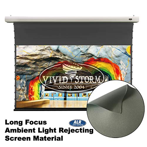 VIVIDSTORM Office/Home 8K/3D/UHD,Ceiling and Wall,Slimline Tab-tensioned Screen,Electric Drop Down Screen,100-inch Diag 16:9, Ambient Light Rejecting, Wireless 12V Projector Trigger,VMSLALR100H