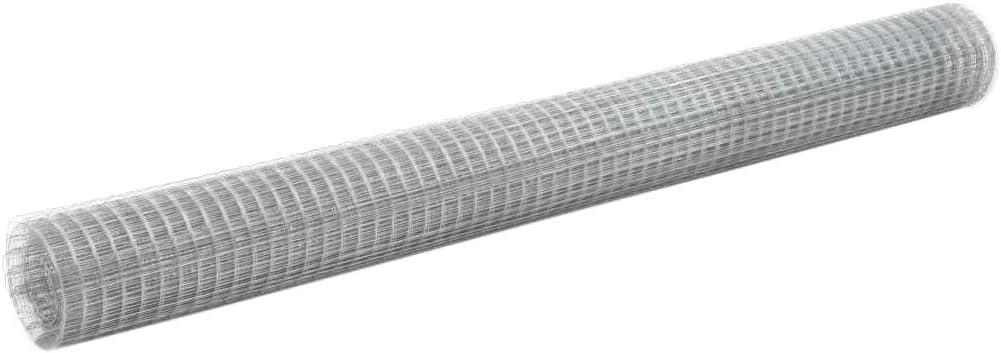 und wetterfest UnfadeMemory Maschendraht Verzinkter Stahl Maschendrahtzaun mit Quadratischen Maschen Drahtgeflecht Silbern Stahldraht Geflecht Drahtgitter Wasser Maschenweite 25x25mm, 10x1,5m