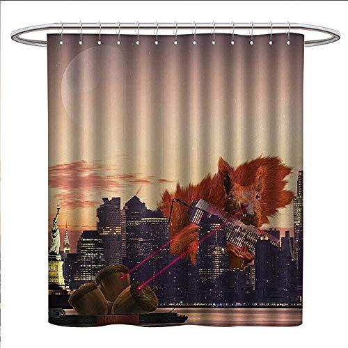 Animal Shower Curtains Digital Printing Big Squirrel Cartoon in New York City Urban Landscape Lasering Big Nuts Artwork Bathroom Accessories W69 x L75 ()