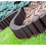 GARDEN FENCE LAWN EDGING BORDER EDGE HAMMERED PALISADE FENCING PLASTIC 2,80m (Brown)