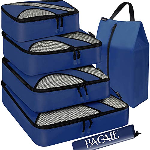 BAGAIL 6 Set Packing Cubes,Travel Luggage Packing Organizers with Laundry Bag(Navy)
