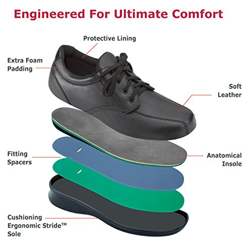 Womens Tie Comfortable Walking Black Shoes Charles Orthofeet Orthopedic Lake Diabetic BXfxpqH
