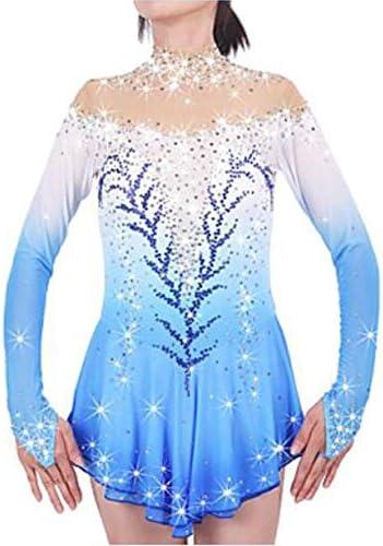 New Vestito da Pattinaggio Artistico per Donna da Ragazza Pattinaggio sul Ghiaccio Vestiti Blu Chiaro Sportivo Vestiti da Pattinaggio sul W/&G