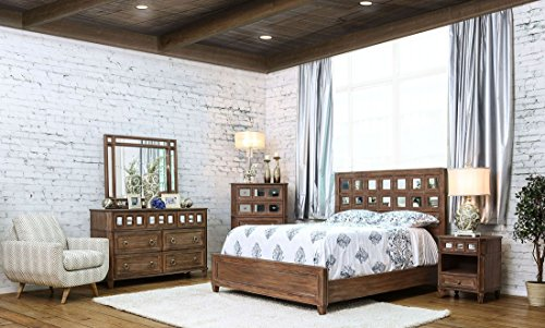 New Casual Rustic Oak Bedroom Furniture 4pc Set Eastern King Size Bed w Accent Mirrored HB Panel Dresser Mirror Nightstand Solid Wood