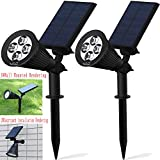 Solar Lights,Solar Powered Spotlight 2-in-1 Adjustable 4 LED In-Ground Light Landscape Wall Light Waterproof Security Light for Outdoor Yard Garden Lawn - Auto-On / Off - The 3rd Gen-2 pack