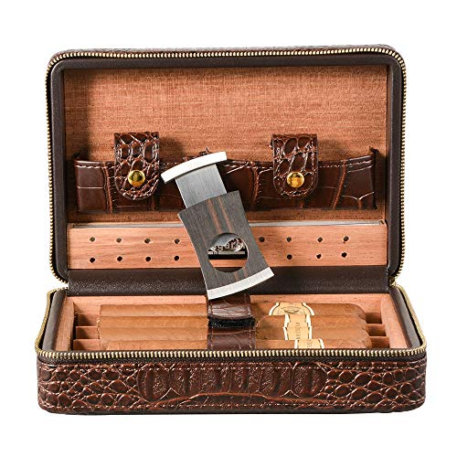 Volenx Crocodile Leather Travel Case Cedar Wood Lined 4 Fingers Holder With Stainless Steel Cutter Set