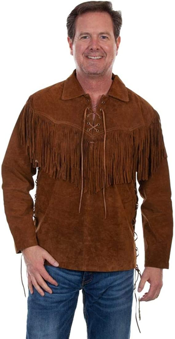 1960s Mens Shirts | 60s Mod Shirts, Hippie Shirts Scully Mens Fringed Boar Suede Leather Long Sleeve Western Shirt - 5-86 $176.49 AT vintagedancer.com