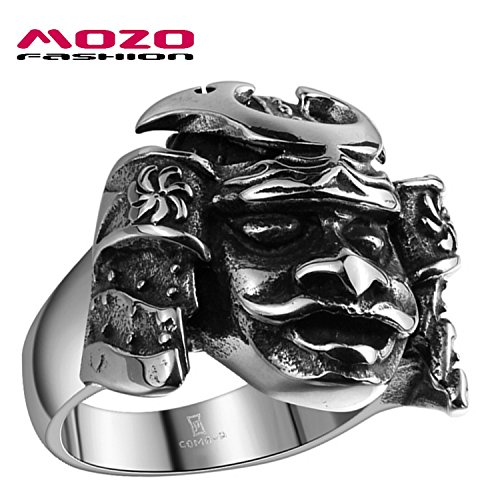 GemMart Jewelry New Men Jewelry Stainless Steel Vintage Mask Ring Japanese Bushido Samurai Helmet Warrior Punk Biker Ring for Men
