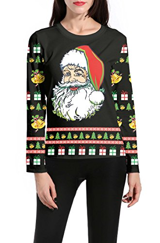 DREAGAL Women Long Sleeves Santa Claus Printed Christmas T Shirt Tops