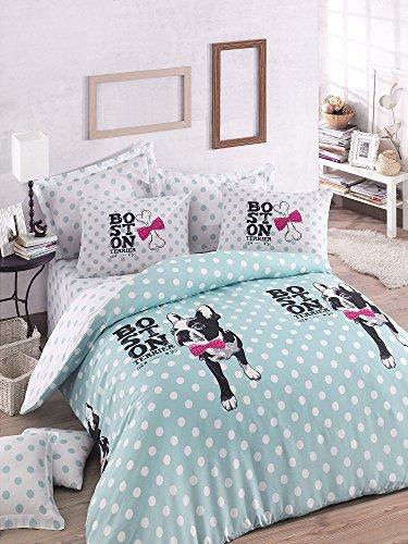 3 Pcs Luxury Soft Colored Super King Bedroom Bedding 65% Cotton 35% Polyester Quilt Duvet Cover Set Boston Terrier Bone Ribbon Point Blue White Black Super Bed Boston - Mint White Mint Black Fuch
