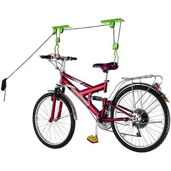 Bike Lane Products Bike Lane Bicycle Storage Lift Bike Hoist 100Lb Capacity Heavy Duty 2 Pack, Green