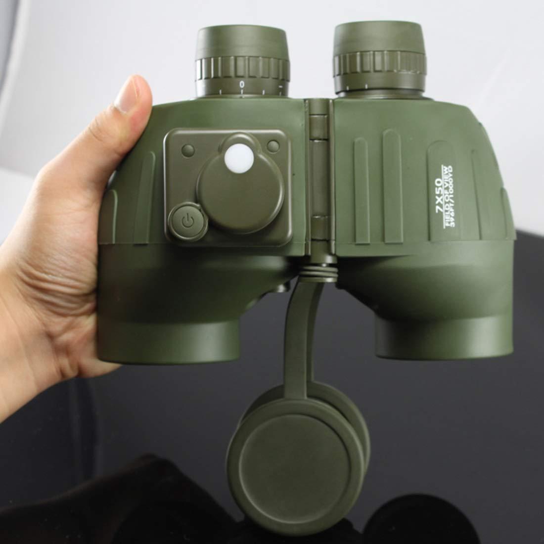 YY3 7x50 Fernglas mit Koordinaten-Kompass für Erwachsene, Compact HD Professional Fernglas BAK4 Prism FMC Objektiv, für den Außenbereich