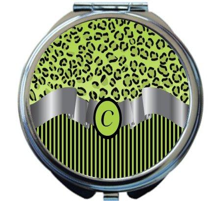 Rikki Knight Letter''C'' Lime Green Leopard Print Stripes Monogram Design Round Compact Mirror by Rikki Knight