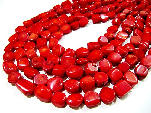 (1 Strand of Red Coral Tumbled Shape Beads / Nugget Shape Coral Beads / Size 10 to 15mm approx / Strand 17 inch long/ Italian Red Coral Beads)