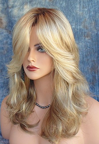 Beauty : Halloween Wigs Costume Cosplay Wig Women Long Curly Wig Synthetic Hair Gold with Wig Cap Z077