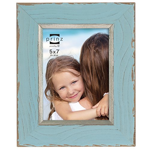 Prince Blue Frame (PRINZ Clearwater Distressed Wood Frame with Gilded Border, 5 by 7-Inch, Blue)