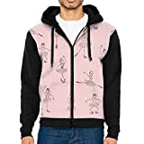 LUANSH Ballet Swan 3d Raglan Hoodie Zip Up Pockets Colorblock Sweatshirt 80s For Men