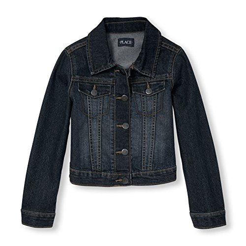 Dark Denim Girls (The Children's Place Big Girls' Denim Jacket, Dark Stone, Medium/7-8)
