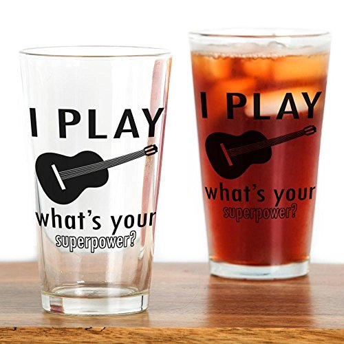 CafePress Guitar Designs Glass Drinking