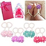 Elesa Miracle Baby Girl Pearl Chiffon Barefoot Flower Sandals Value Set of 4, In Gift Box (Set A)