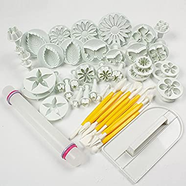 Leegoal Cake Tools 14 sets (46pcs) Flower Fondant Cake Sugarcraft Decorating Kit Cookie Mould Icing Plunger Cutter Tool