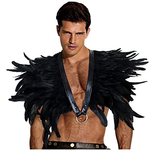 L'VOW Gothic Black Feather Shrug Cape Shawl Halloween Costume for Men (Style -07) -