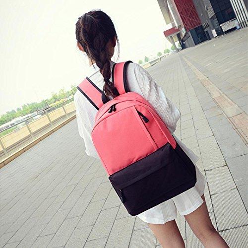 Clode® Unisex Vintage lona morral mochila Colegio Mochila bolsa mochila de senderismo Rojo