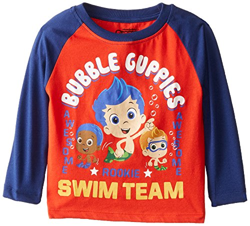 Nickelodeon Little Boys' Toddler Bubble Guppies Awesome Rookie Swim Team Raglan T-Shirt, Red, (Bubble Team)