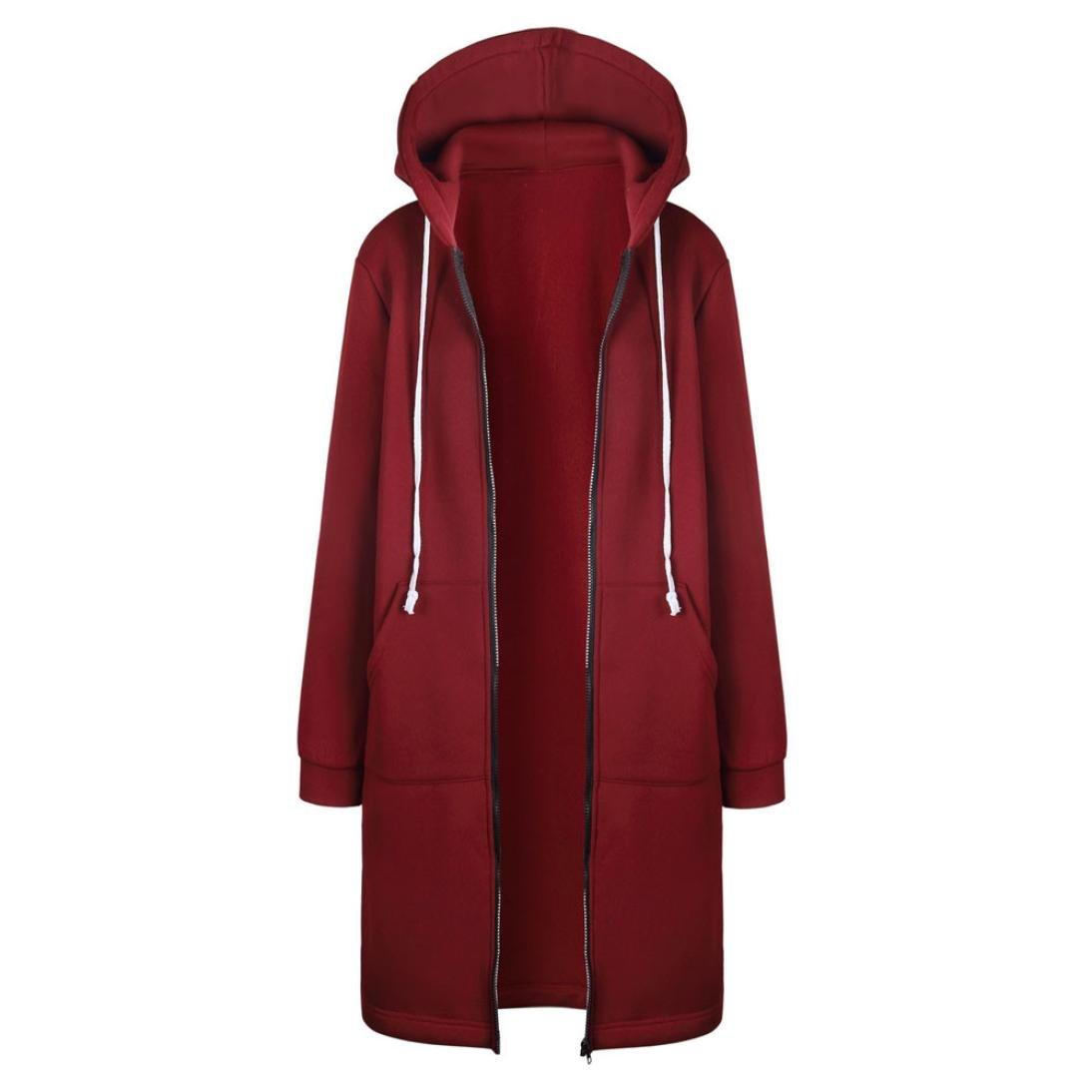 Long Sleeve Jacket,Gillberry Women's New Coat A-Lined Overcoat Hoodies Sweatshirt with Zipper (Red, S)