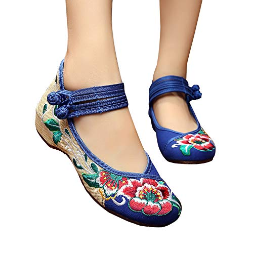 Clothing Store Chinese (Embroidered Shoes Flats Loafers Women Ballet Low Heels Pumps Ballerina Fabric Cloth Canvas Height Increased Comfortable Chinese Flower Hightop Mary Jane Lace-up Vintage(7.5 B(M) US/CN39/24.5CM,Blue))