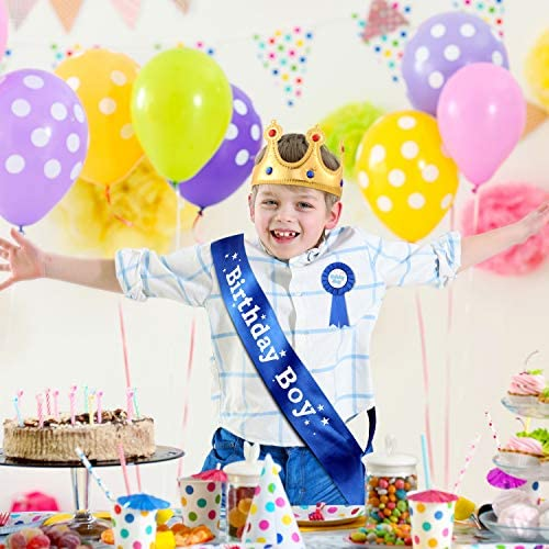 Birthday King Crown, Birthday Boy Sash and Button Pins Birthday Boy Party Accessory Set for Boys Birthday Dress-Up Birthday Party Decoration