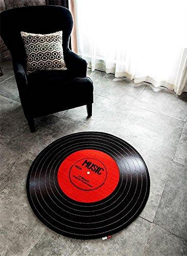 Sunhai Rug Personalized Creative Records Circular Carpet, Bedroom Mats Living Room Coffee Mats Room Computer Chair Cushions (Size : ()