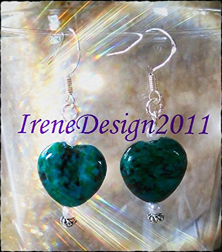 Chrysocolla Heart & Pearl Earrings