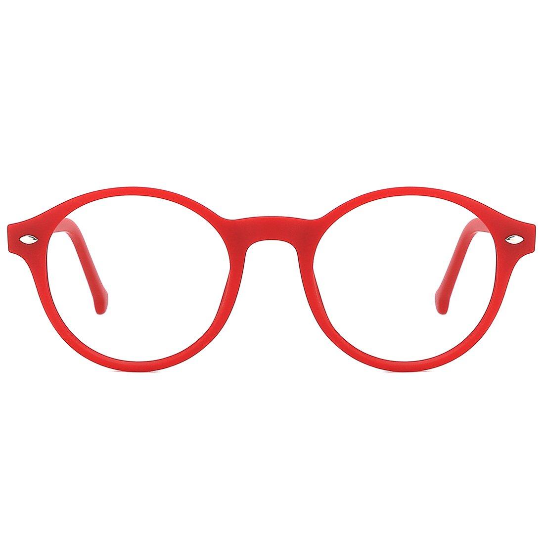 TIJN Men Women Classic Round Non-prescription Glasses Frosted Eyeglasses Frames 00064201