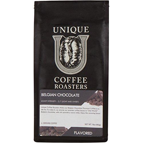 Smooth 'Belgian Chocolate' Flavored Ground Coffee, 1 LB (16 oz) bag, Medium Roast, 100% Arabica Premium Quality (16 Belgian Chocolate)