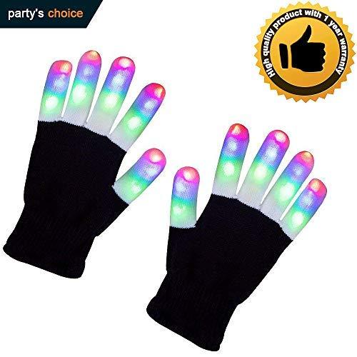 Light Up Gloves Flashing Finger LED Light Gloves 3 Colors 6 Modes for Halloween, Novelty Light Up Toys (Black)