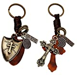[Pack of 2] Key chains Key Ring for Christian,Punk Style Leather Car Key Holder Accessories Good Gift for Best Friends by Codear