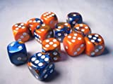 Chessex Dice d6 Sets: Gemini Blue & Orange with White - 16mm Six Sided Die (12) Block of Dice