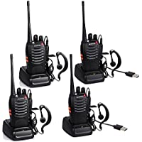 BYBOO Baofeng BF-888S USB Charger Rechargeable Walkie Talkies Two Way Radio UHF 400-470MHz Long Rang 5W 16 Channels with Earpieces(4 Packed of Set Black)