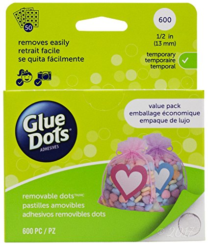 Glue Dots Removable Dot Sheets Value Pack, Contains 600 (.5 Inch) Temporary Adhesive Dots (Glue Pack)